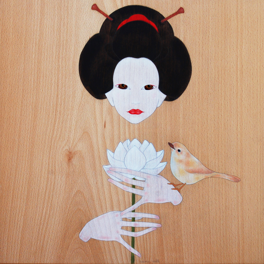 """geisha &  a white lotus flower"""