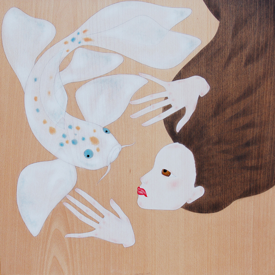 """maiko swimming with koi carp"""