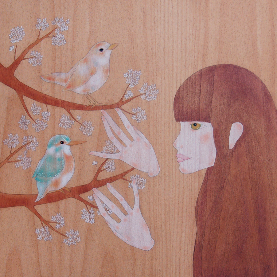 """girl, wren, kingfisher & cherry tree"""