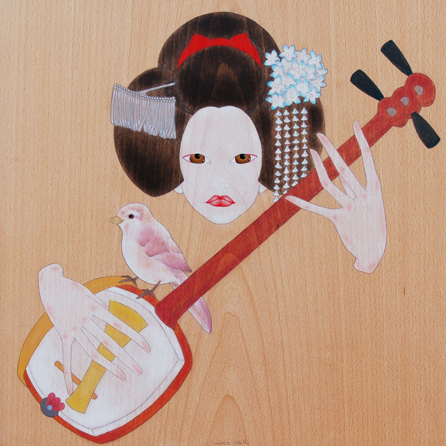 """maiko playing the shamisen"""