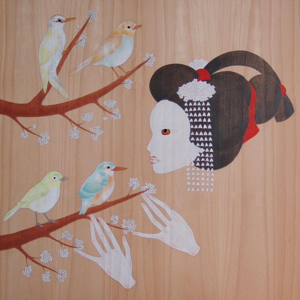 """maiko, cherry tree & birds"""