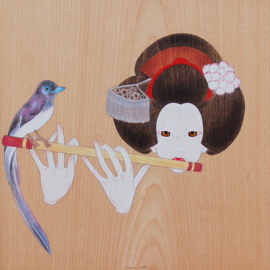 """maiko playing the japanese flute"""