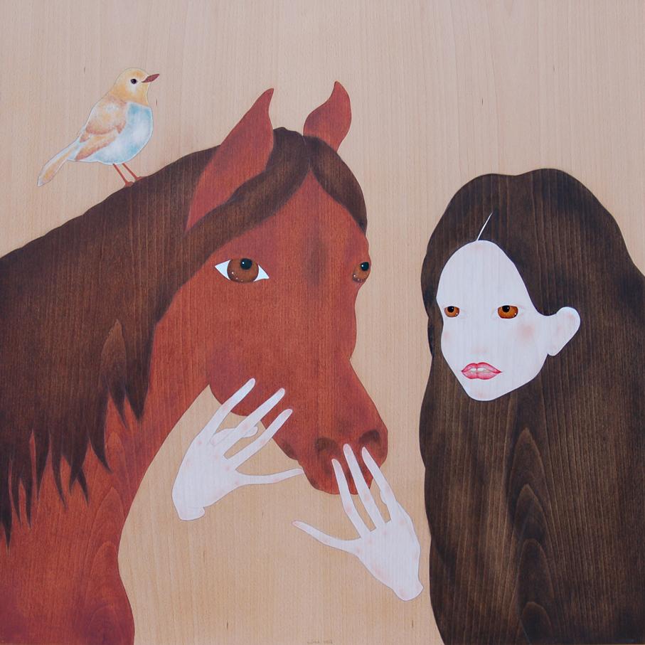 """geisha acariciant el cavall"""