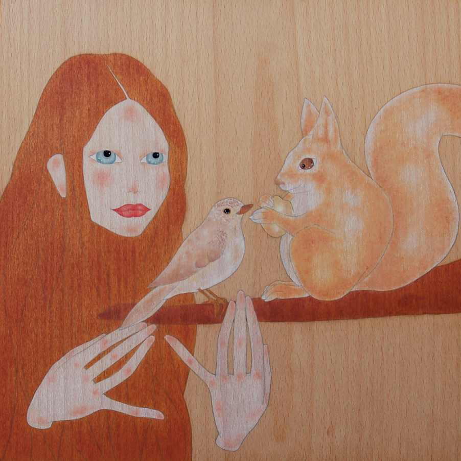 """girl contemplating a little squirrel eating an acorn"""