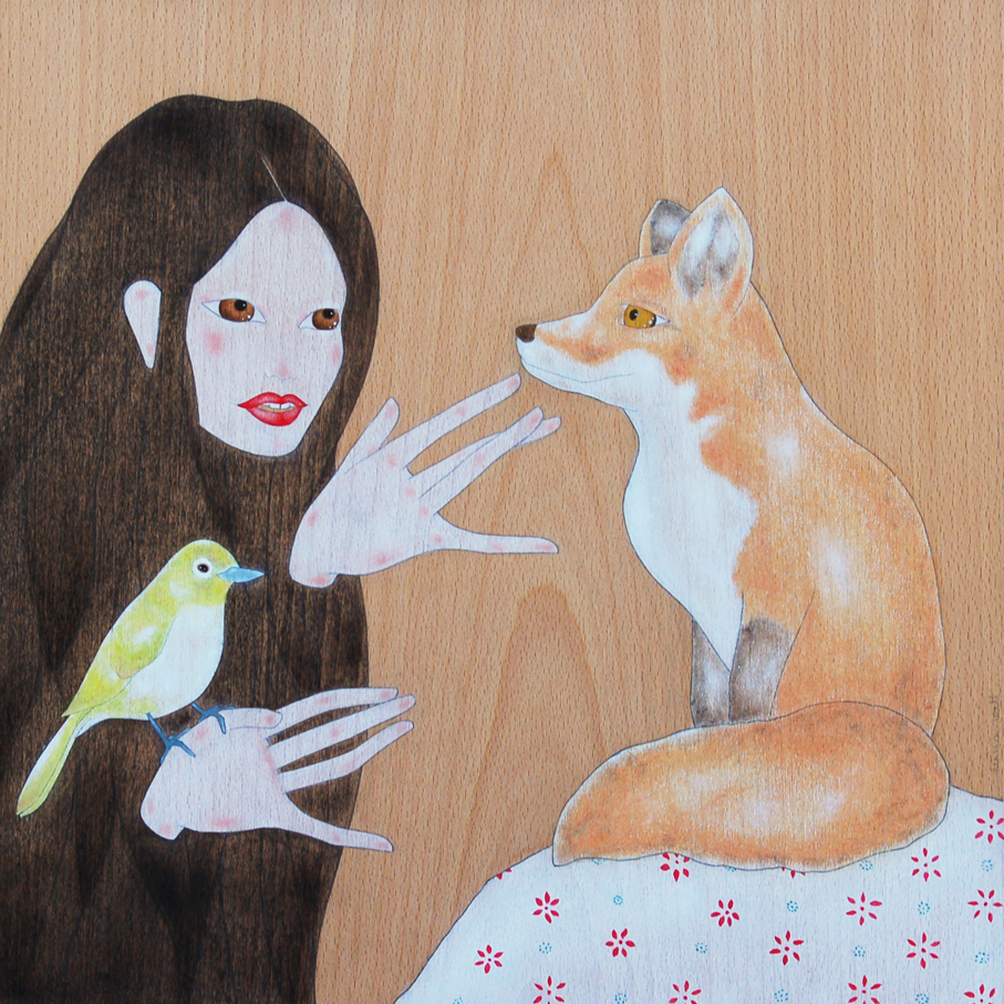 """geisha petting a red fox"""