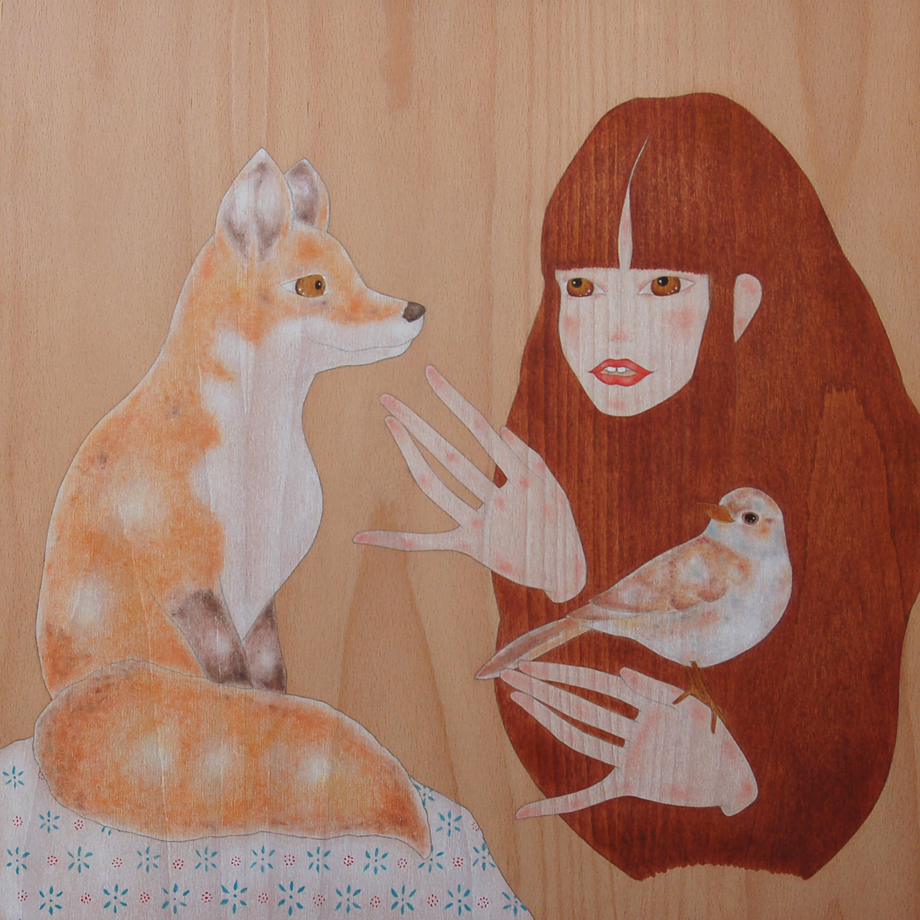"""girl caressing a red fox"""