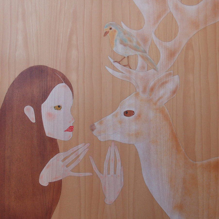 """girl staring a wild red deer"""