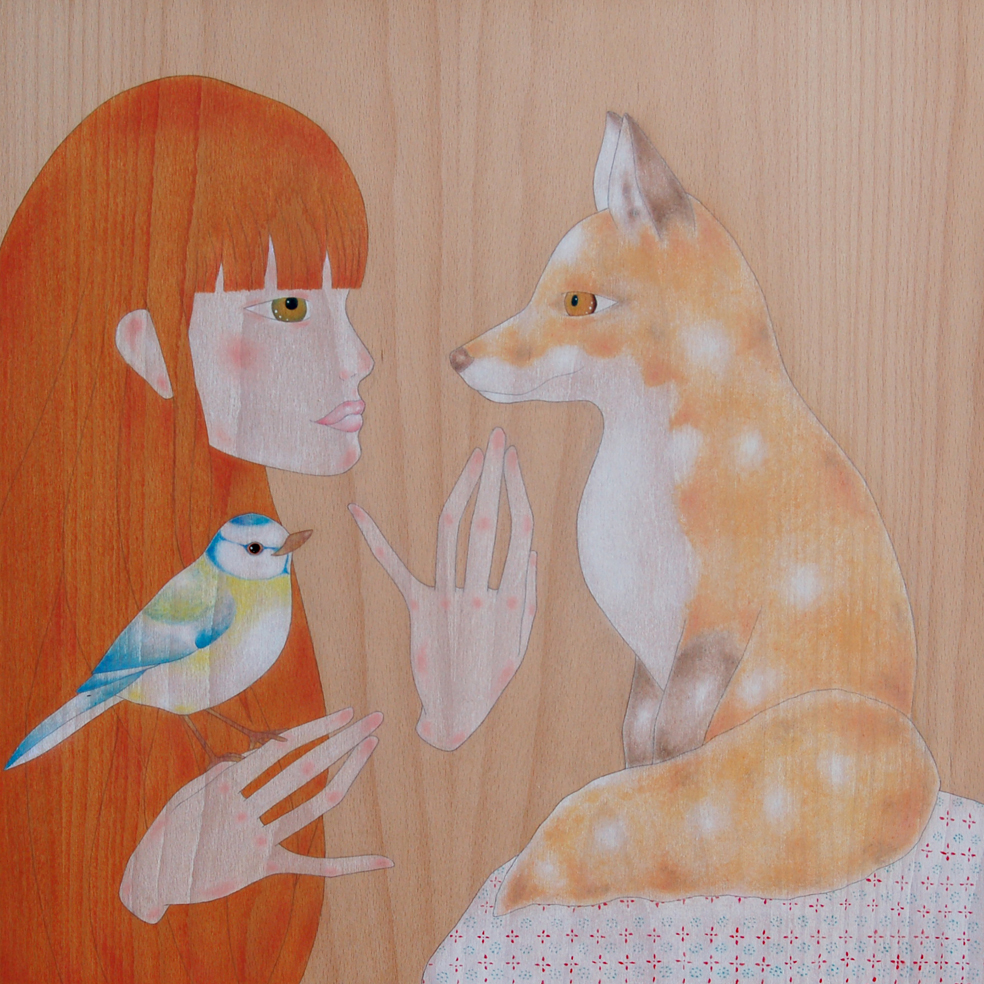 """irish girl, red fox & blue tit"""