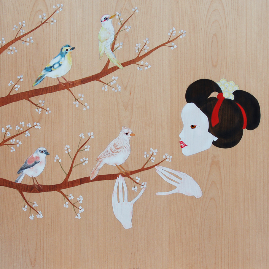 """maiko & cherry branches with birds"""