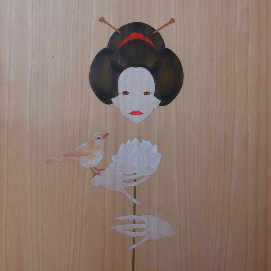 """geisha & white lotus flower"""