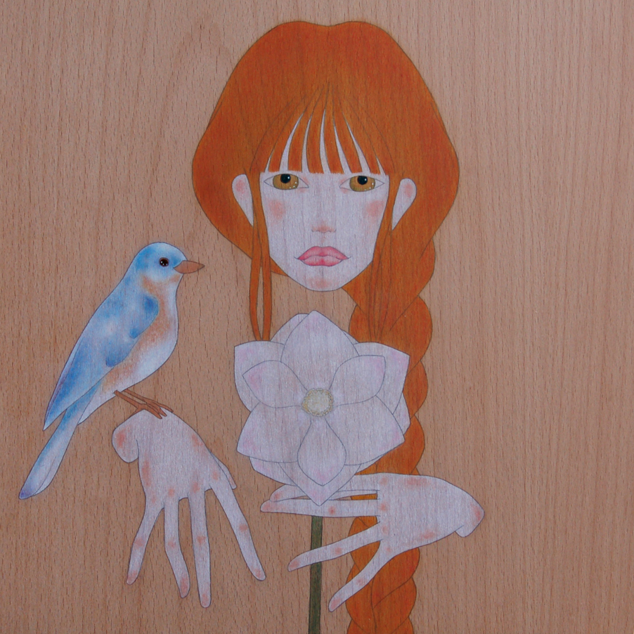 """girl, bluebird & magnolia flower"""