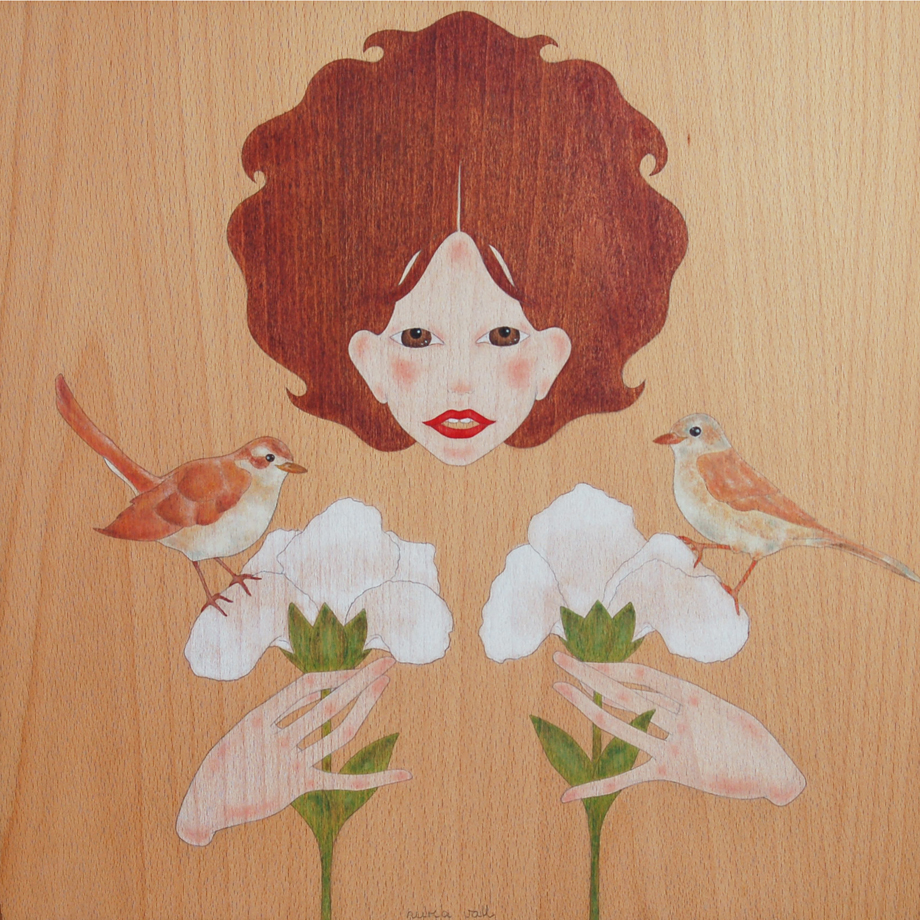 """doll, birds & iris flowers"""
