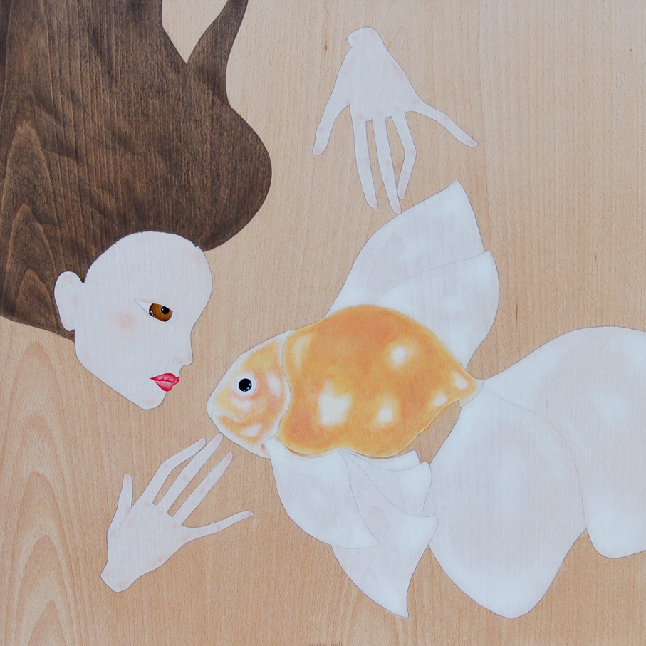 """maiko swimming with goldfish"""
